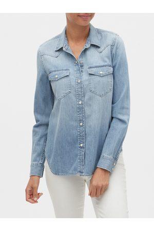 GAP Dámská džínová košile v-denim wstrn shrt lt sunshine