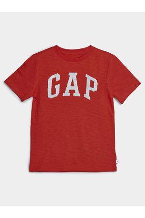 GAP Červené klučičí dětské tričko Logo arch int t-shirt