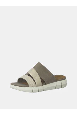 Tamaris Krémovo-šedé kožené pantofle