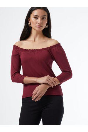 Dorothy Perkins Sada dvou triček v černé a vínové barvě s odhalenými rameny