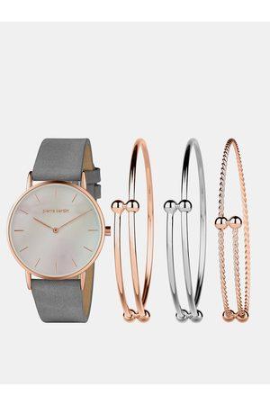 Pierre Cardin Sada dámských hodinek s koženým páskem a tří náramků ve stříbrné a růžovozlaté barvě