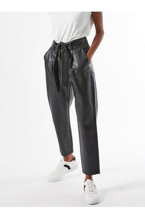 Dorothy Perkins Černé zkrácené koženkové kalhoty se zavazováním