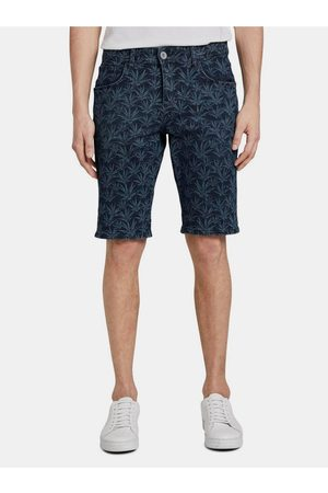 TOM TAILOR Tmavě modré pánské vzorované džínové kraťasy