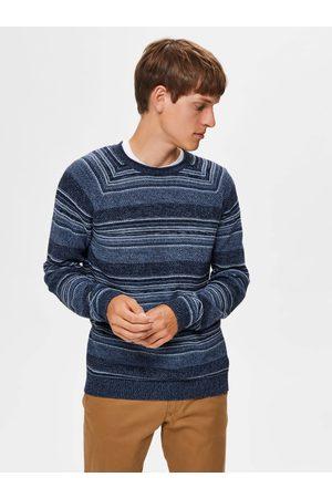 SELECTED Modrý pruhovaný svetr