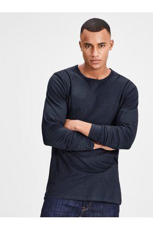 JACK & JONES Tmavě modré basic tričko s dlouhým rukávem Basic