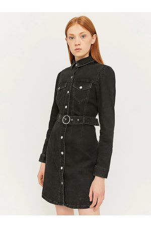 Tally Weijl Černé džínové košilové šaty