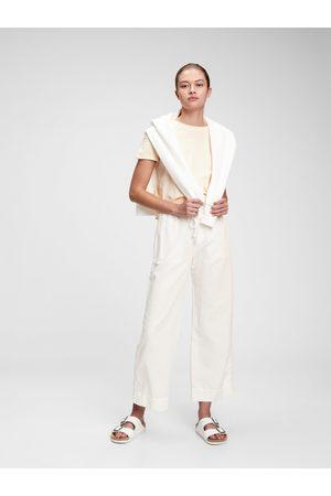 GAP Bílé dámské kalhoty high rise wide-leg pants in linen-cotton