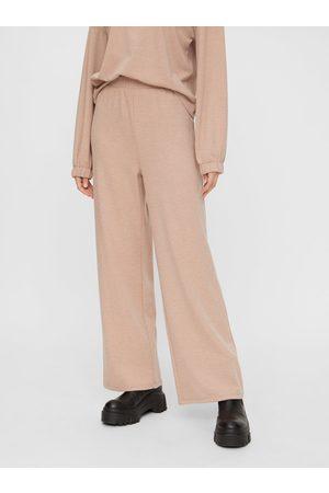 Pieces Béžové široké kalhoty