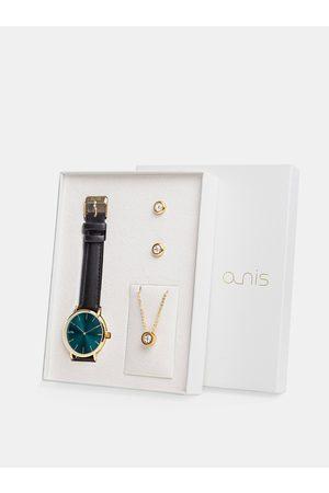 A-NIS Sada dámských náušnic, řetízku a hodinek s černým koženým páskem