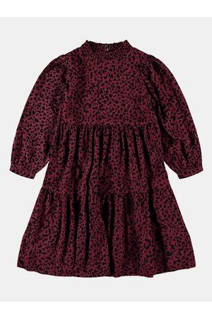 NAME IT Vínové holčičí vzorované šaty