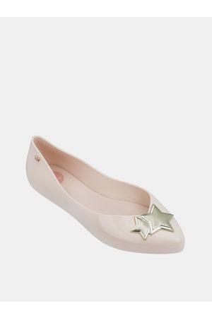 Zaxy Světle růžové lesklé baleríny s detaily ve zlaté barvě Chic