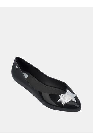 Zaxy Černé lesklé baleríny s detaily ve stříbrné barvě Chic