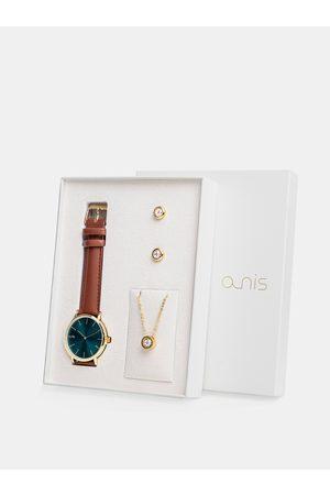 A-NIS Sada dámských náušnic, řetízku a hodinek s hnědým koženým páskem