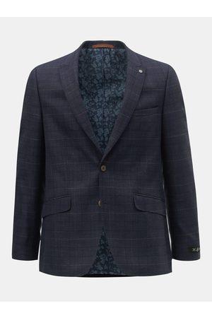 Burton Tmavě modré kostkované oblekové slim fit sako