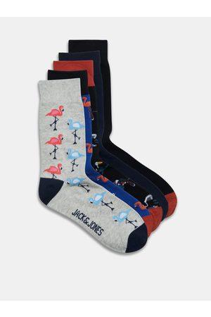JACK & JONES Sada pěti párů vzorovaných ponožek v šedé a černé barvě