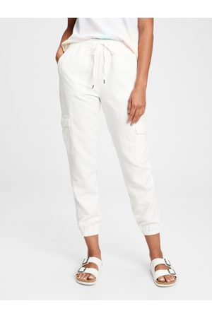 GAP Bílé dámské kalhoty linen pull on