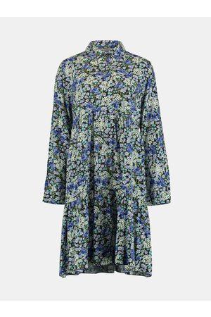 Hailys Modré květované košilové šaty