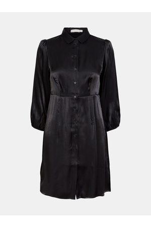 Pieces Černé saténové košilové šaty