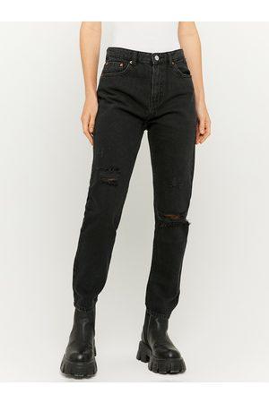 Tally Weijl Černé straight fit džíny s potrhaným efektem