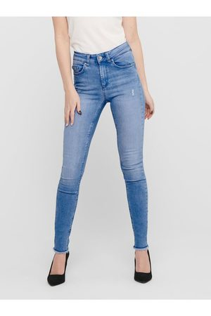 ONLY Modré skinny fit džíny s roztřepenými lemy Blush