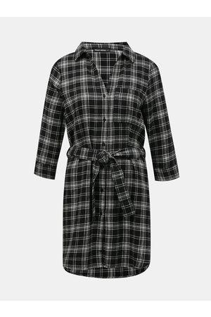 Tally Weijl Černo-šedé kostkované košilové šaty