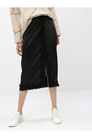 VILA Černá midi sukně s krajkou Ellie