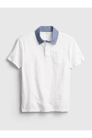 GAP Bílé klučičí dětské polo tričko chambray