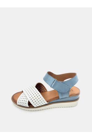 WILD Bílo-modré dámské kožené sandálky na klínku