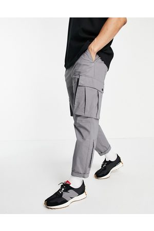 Topman Relaxed cargo track pant trousers in grey