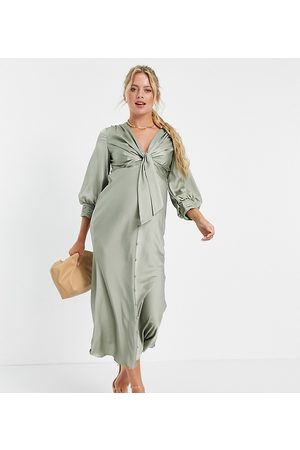 ASOS ASOS DESIGN Maternity satin tie front midi dress with button detail-Green