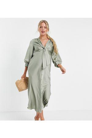 ASOS ASOS DESIGN Maternity satin tie front midi dress with button detail-Green