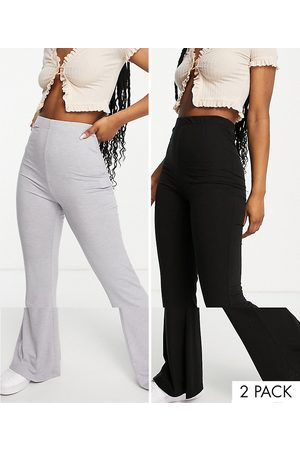 Missguided 2 pack flare in black and grey-Multi