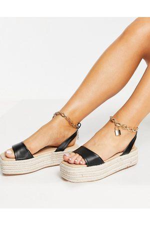 Public Desire Dubai flatform espadrille sandals with padlock detail in black