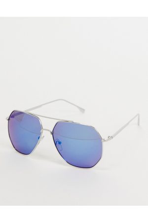 Jeepers Peepers Womens square sunglasses with blue lens in silver