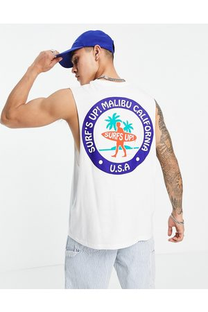 ASOS Relaxed vest in white organic cotton with Malibu back print