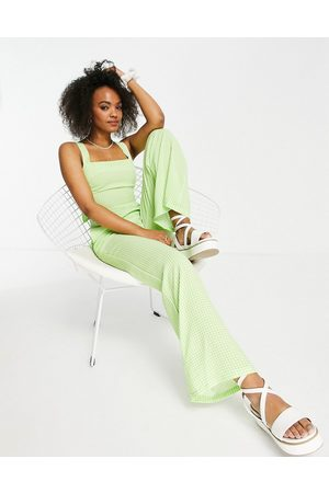 Lola May Tie back jumpsuit in lime gingham-Green