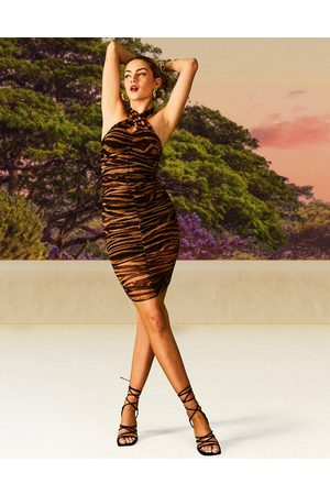 ASOS DESIGN Cross front halter mesh ruched low back midi dress in animal print-Multi