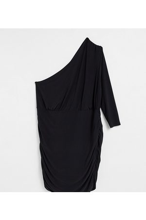 Club L London Plus Ruched one shoulder mini dress in black