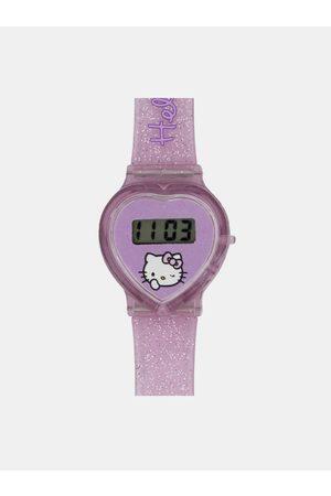 Hello Kitty Růžové holčičí hodinky ve tvaru srdce