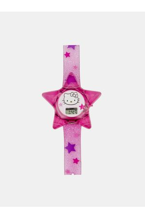 Hello Kitty Růžové holčičí hodinky ve tvaru hvězdy
