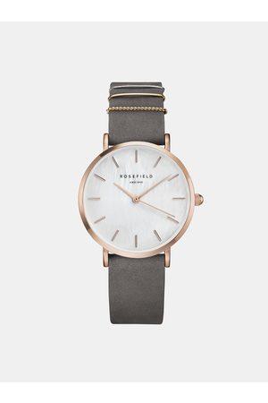 ROSEFIELD Dámské hodinky s šedým semišovým páskem