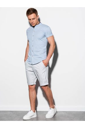 Ombre Clothing Pánská košile s krátkým rukávem K543 - nebesky