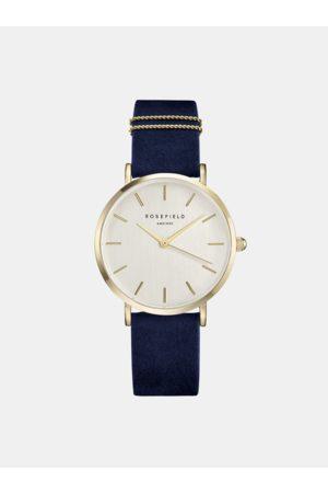 ROSEFIELD Dámské hodinky s modrým semišovým páskem