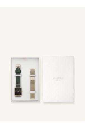 ROSEFIELD Sada dámských hodinek a náhradního řemínku v zelené a zlaté barvě