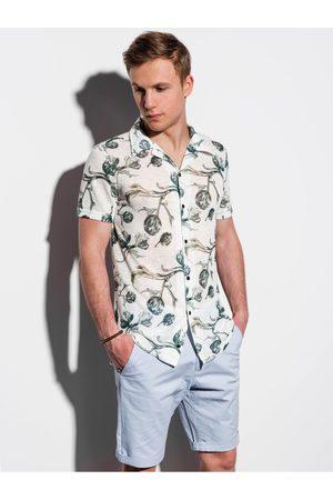 Ombre Clothing Pánská košile s krátkým rukávem K547 - ecru