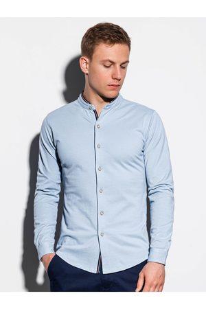 Ombre Clothing Pánská košile s dlouhým rukávem K542 - nebesky