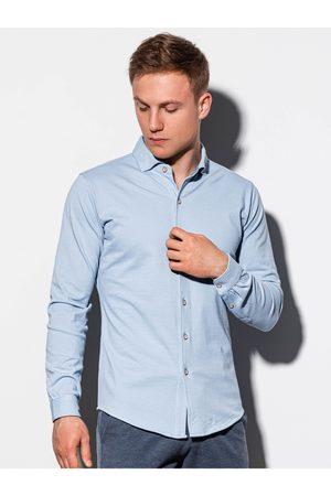 Ombre Clothing Pánská košile s dlouhým rukávem K540 - nebesky