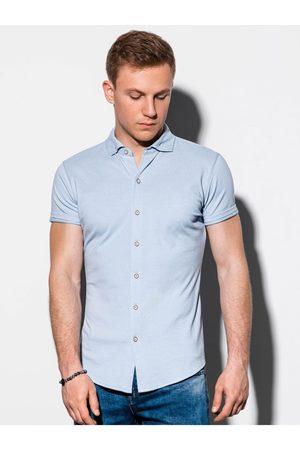 Ombre Clothing Pánská košile s krátkým rukávem K541 - nebesky