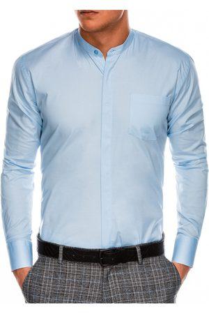 Ombre Clothing Pánská elegantní košile s dlouhým rukávem K307 - blankytná