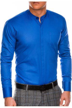 Ombre Clothing Pánská elegantní košile s dlouhým rukávem K307 - nebesky